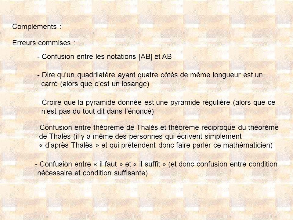 Compléments : Erreurs commises : - Confusion entre les notations [AB] et AB. Dire qu'un quadrilatère ayant quatre côtés de même longueur est un.